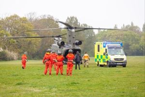 Chinook and ambulance on exercise at Seaclose
