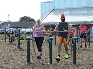 Staff using outdoor gym